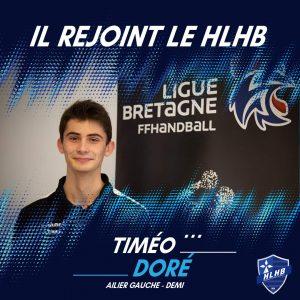 Timéo Doré rejoint le HLHB !