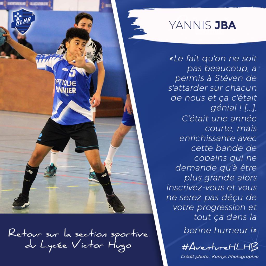 Yannis JBA : son expérience au sein de la Section Sportive